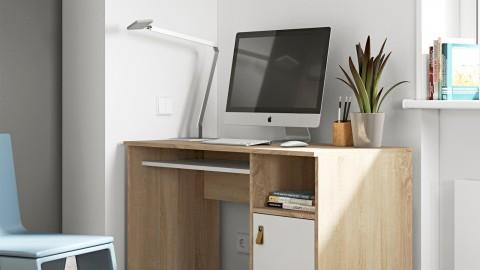 Bureau en contreplaqué chêne et blanc 1 porte 1 niche de rangement - Collection Oxford - Temahome