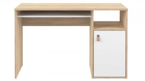 Bureau en contreplaqué chêne et blanc 1 porte 1 niche de rangement - Collection Oxford - Temahome France