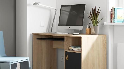 Bureau en contreplaqué chêne et noir 1 porte 1 niche de rangement - Collection Oxford - Temahome
