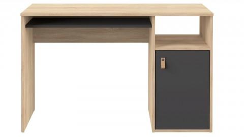 Bureau en contreplaqué chêne et noir 1 porte 1 niche de rangement - Collection Oxford - Temahome France
