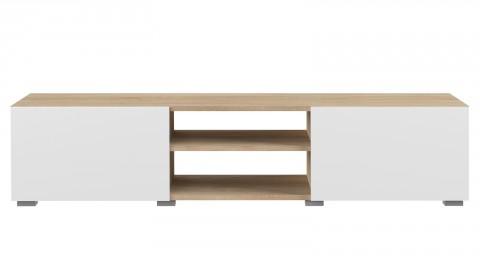 Meuble TV 140cm en contreplaqué chêne 2 portes en chêne blanc 2 niches de rangement - Collection Podium - Temahome France