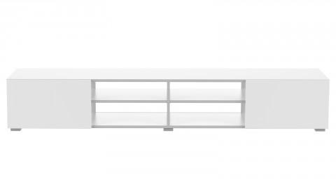 Meuble TV 185cm en contreplaqué blanc 2 portes 4 niches de rangement - Collection Podium - Temahome France