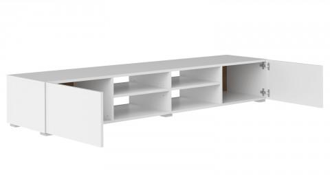 Meuble TV 185cm en contreplaqué blanc 2 portes 4 niches de rangement - Collection Podium - Temahome