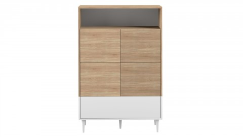 Meuble de rangement haut 3 portes 1 niche en contreplaqué chêne et blanc - Collection Horizon - Temahome France