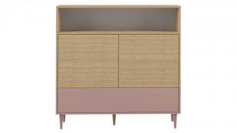 Meuble de rangement medium 3 portes 1 niche en contreplaqué chêne et rose - Collection Horizon - Temahome France
