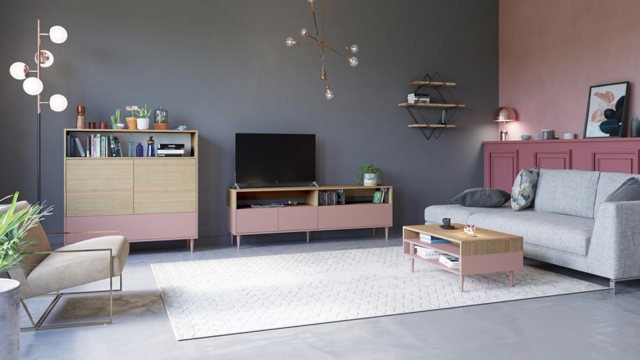 Meuble de rangement medium 3 portes 1 niche en contreplaqué chêne et rose - Collection Horizon - Temahome
