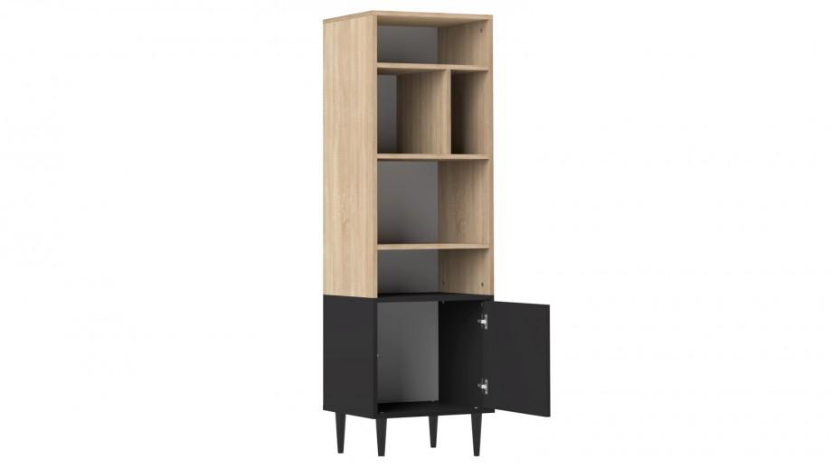 Petite bibliothèque en contreplaqué chêne et noir 5 niches 1 porte - Collection Horizon - Temahome