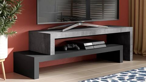 Meuble TV double en placage noir et effet béton - Collection Cliff - Temahome