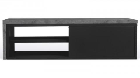 Meuble TV double 2 niches 2 porte en contreplaqué noir et effet béton - Collection Move - Temahome