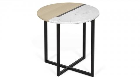 Table d'appoint bi-matière bois et marbre blanc Ø50cm - Collection Sonata - Temahome