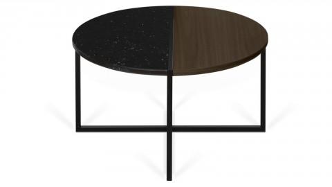 Table d'appoint bi-matière bois et marbre noir Ø80cm - Collection Sonata - Temahome