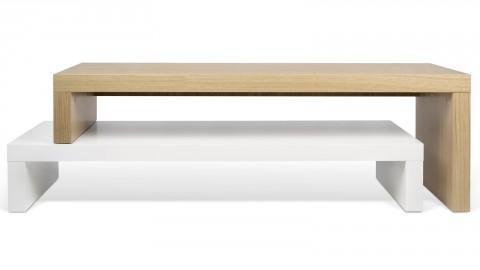 Meuble TV double en placage chêne et blanc - Collection Cliff - Temahome