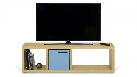 Meuble TV 3 niches en placage chêne - Collection Berlin - Temahome