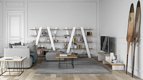 Etagère croisée en bois naturel et blanc - Collection Wind - Temahome