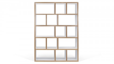 Etagère 5 niveaux 150cm en bois naturel et blanc - Collection Berlin - Temahome