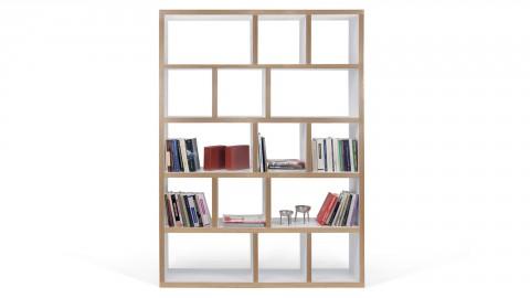 Etagère 5 niveaux 150cm en contreplaqué naturel et blanc - Collection Berlin - Temahome