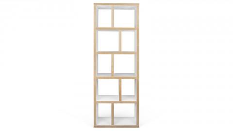 Etagère - Bibliothèque 5 niveaux 70 cm en bois naturel et blanc - Berlin - Homifab