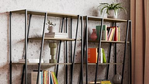 Etagère géométrique en bois et métal noir - Collection Albi - Temahome