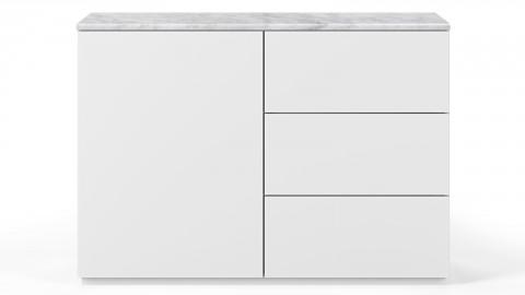 Commode 1 porte 3 tiroirs en contreplaqué et marbre blanc - Collection Join - Temahome