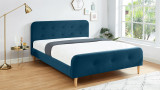 Lit adulte scandinave 160x200 en velours bleu paon avec tête de lit capitonnée et sommier à lattes inclus - Collection Mark