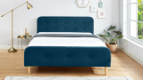 Lit adulte scandinave 140X190 en velours bleu paon avec tête de lit capitonnée et sommier à lattes inclus - Collection Mark