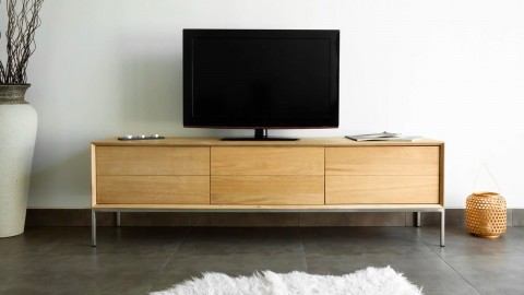 Meuble TV en chêne massif avec 2 tiroirs et 1 niche de rangement - Collection Kalmar