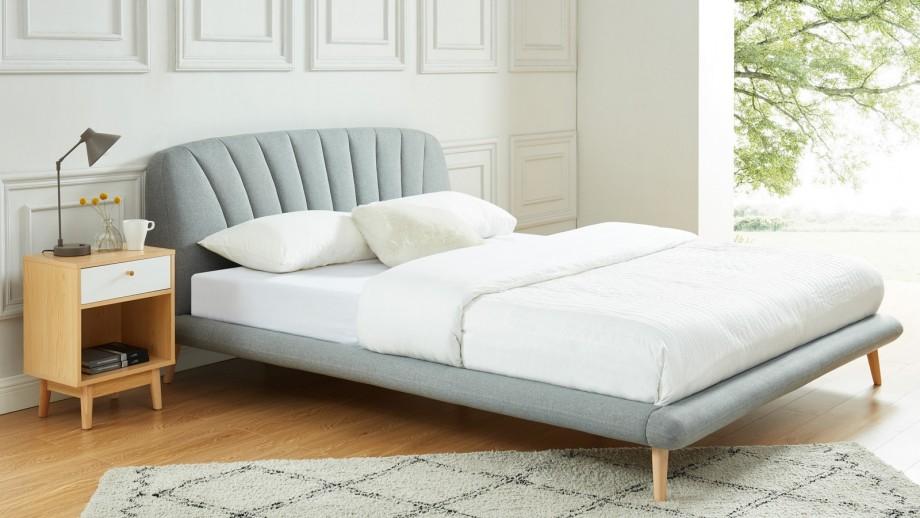 HOMER Lit pour couchage 160x200 cm en tissu gris clair + sommier à lattes