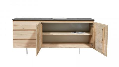 Buffet en chêne massif 2 portes avec 1 étagère, 3 tiroirs et un planteau minéral - Collection Höganäs
