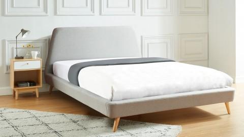 Lit adulte scandinave en tissu gris clair 160x200cm avec tête de lit et sommier à lattes - Collection Jade