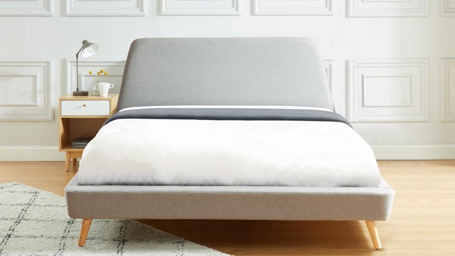 JADE Lit scandinave 160x200 cm en tissu gris clair