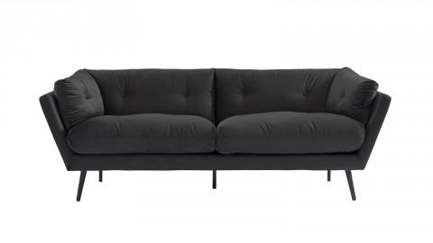 Canapé moderne 3 places en velours gris - Collection Thelma