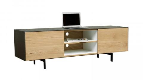 Meuble TV en chêne massif, 1 porte avec étagère, 1 niche de rangement avec étagère et 1 tiroir - Collection Höganäs