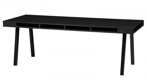 Table à manger 6 personnes en bois massif noir piètement métal - Collection Trian - Woood