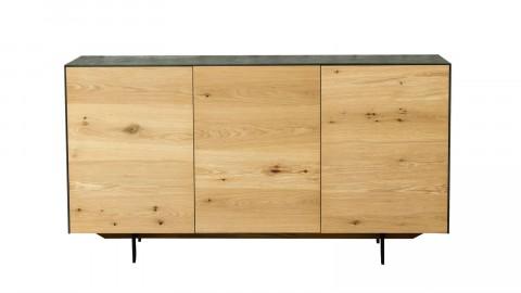 Meuble TV en chêne massif et plateau mineral, 3 portes avec étagères - Collection Höganäs