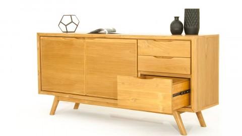 Buffet en teck 2 portes avec étagère, 3 tiroirs - Collection Arboga