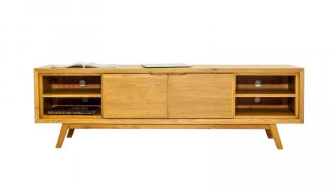 Meuble TV en teck massif, 2 portes, 5 niches de rangement et piètement compas, 136 cm - Collection Arboga