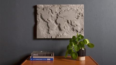 Carte du monde en béton - The grey planet - Collection Singleton - Lyon Beton