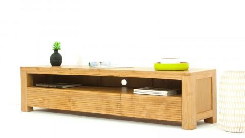 Meuble TV en teck massif, 1 niche de rangement et 3 tiroirs - Collection Arboga