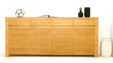 Buffet en teck massif, 4 tiroirs, double placard avec étagères - Collection Arboga
