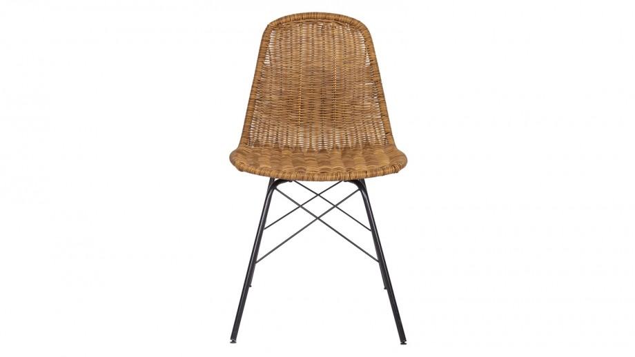 Lot de 2 chaises imitiation rotin piètment métal - Collection Spun - BePureHome