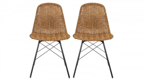 Lot de 2 chaises aspect rotin - Spun - BePureHome