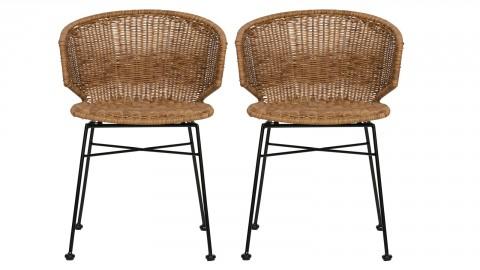 Lot de 2 chaises imitation rotin piètement métal - Noor - Woood