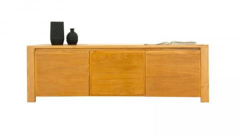 Meuble TV en teck massif, 3 placards avec étagères, 160 cm - Collection Arboga