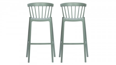 Lot de 2 tabourets de bar en plastique vert jade - Collection Bliss - Woood
