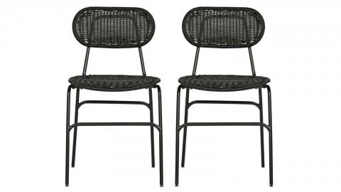 Lot de 2 chaises en rotin polyester noir - Collection Britt - Woood