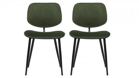 Lot de 2 chaises en velours vert piètement métal - Collection Jackie - Woood