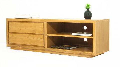 Meuble TV en teck massif avec 2 tiroirs et 2 niches de rangement latérales avec étagères - Collection Arboga