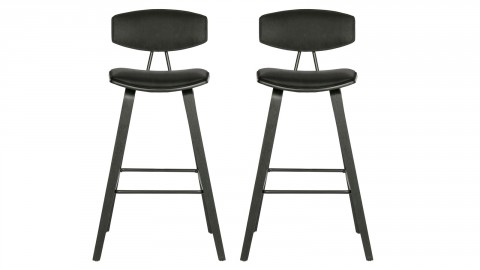 Lot de 2 tabourets de bar en velours noir - Collection Senn - Woood
