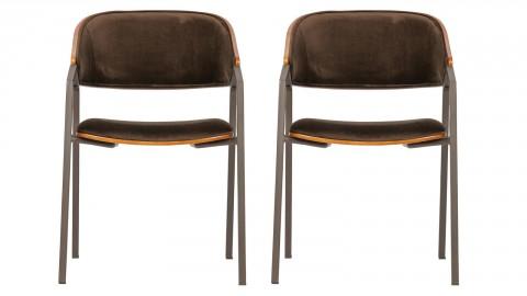 Lot de 2 chaises avec accoudoirs en velours marron - Collection Clan - BePureHome