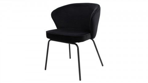Lot de 2 chaises repas en velours noir piètement en métal - Collection Admit - BePureHome